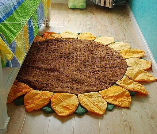Sunflower Cotton Handmade Round Carpet - Lifestyle - Funny Gadgets Free shipping