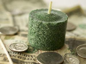 Зеленая свеча. Ярмарка Мастеров - ручная работа, handmade.