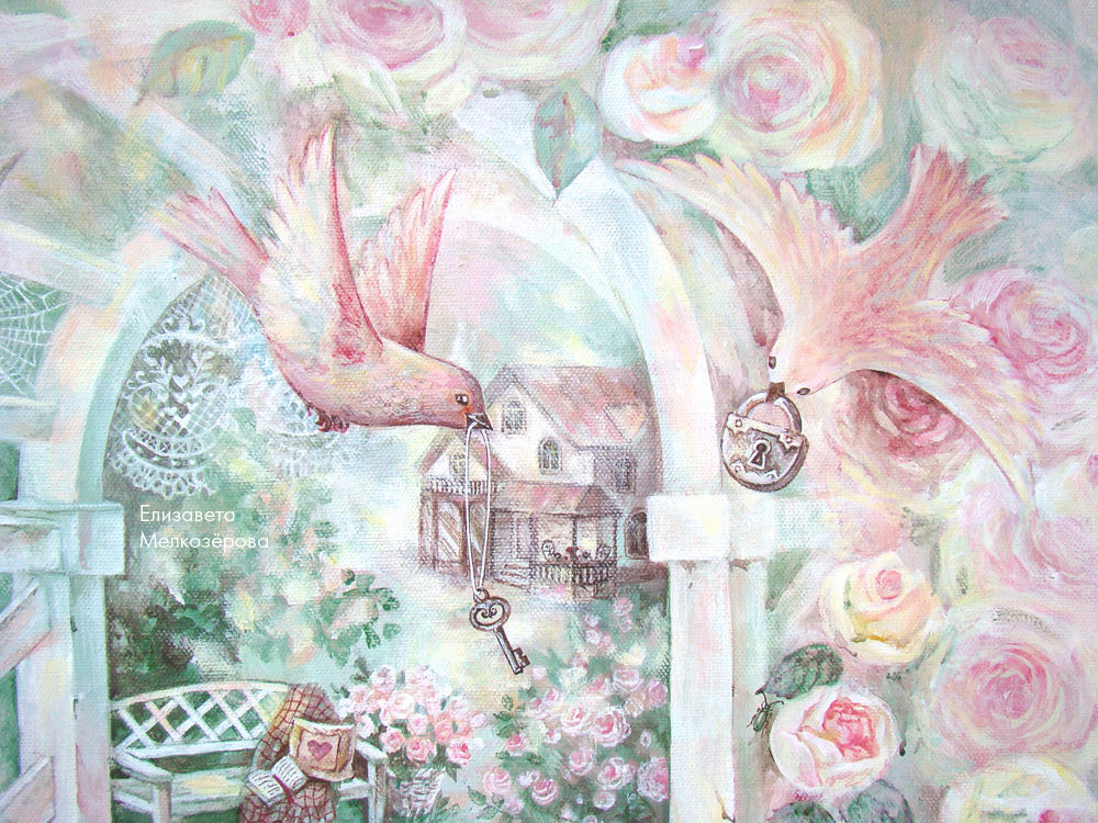 картина с цветами, дачный дом, бабочка жук паук