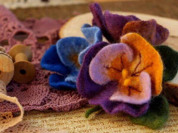 Делаем из шерсти цветок «Анютины глазки»   Ярмарка Мастеров - ручная работа, handmade