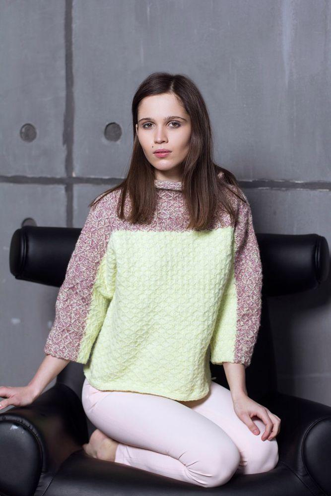 зеленый, шерсть мериноса, женский свитер