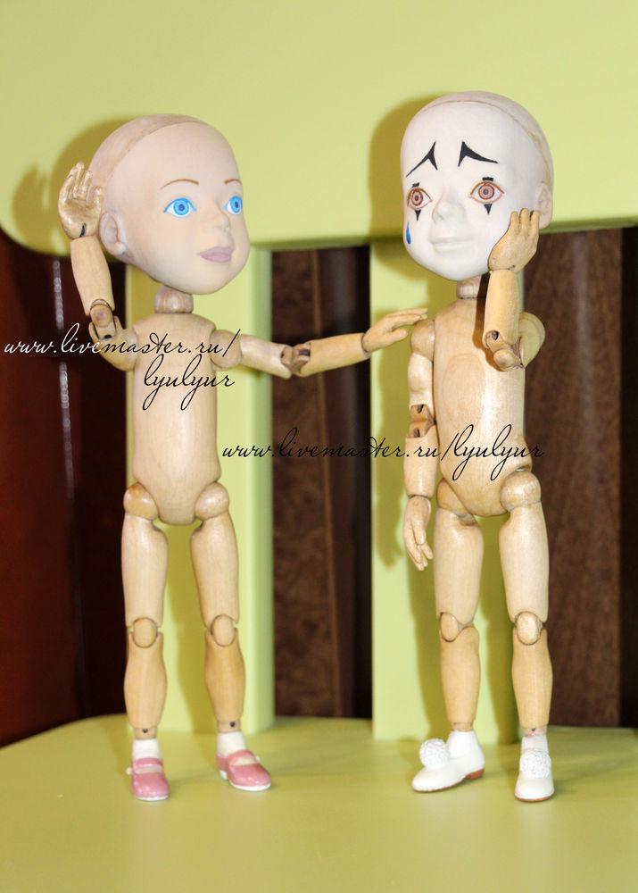 пьеро, шарнирная кукла, деревянная кукла