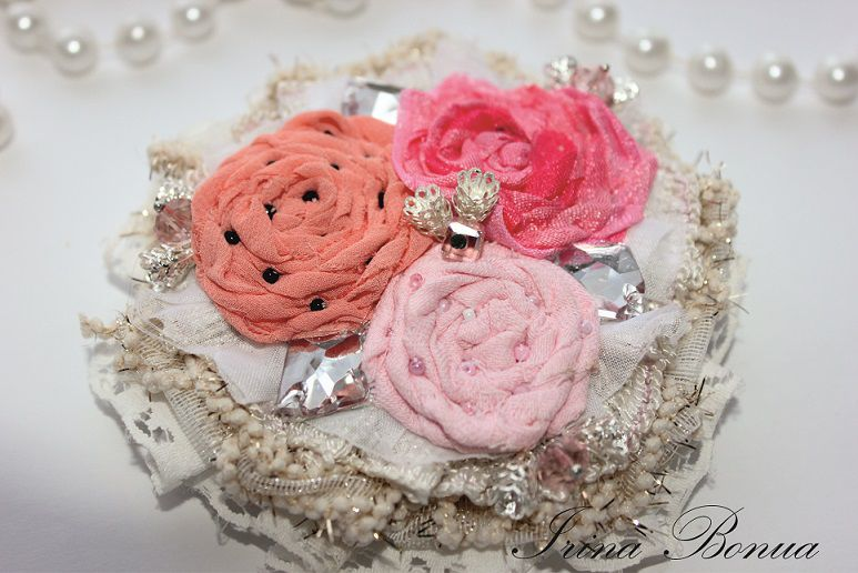 розовая брошь, гламурная брошь, вечернее украшение