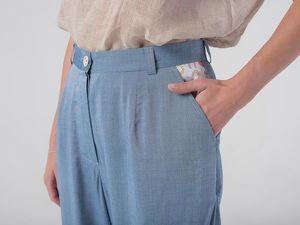 YOKU в деталях: брюки оверсайз из шамбре цвета светлый деним. Ярмарка Мастеров - ручная работа, handmade.