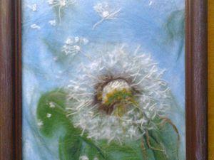 Одуванчик в технике шерстяной живописи. Ярмарка Мастеров - ручная работа, handmade.