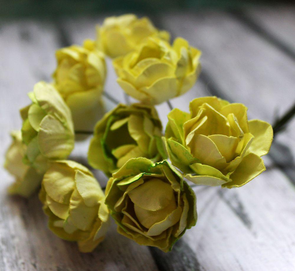 бумажные цветы, желтый пион, цветы для скрапбугинга, цветы для скрапа, декор для скрапбукинга, декор для открыток