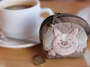 """Let's Sew a """"Naughty Pig"""" Japanese Coin Purse. Livemaster - handmade"""