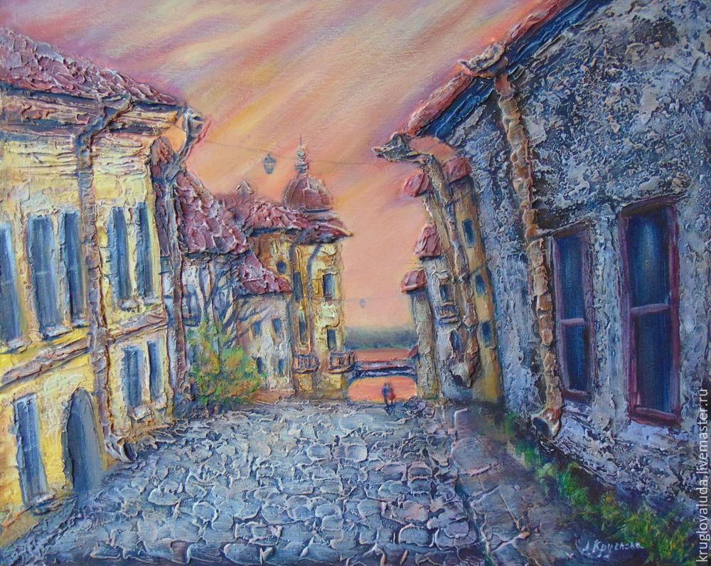 объёмная картина, фактурная картина, рисуем старый город, рисуем акрилом
