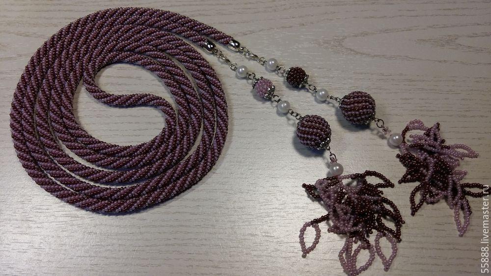 жгут из бисера, бисерные украшения, лариат с подвесками, вязание с бисером