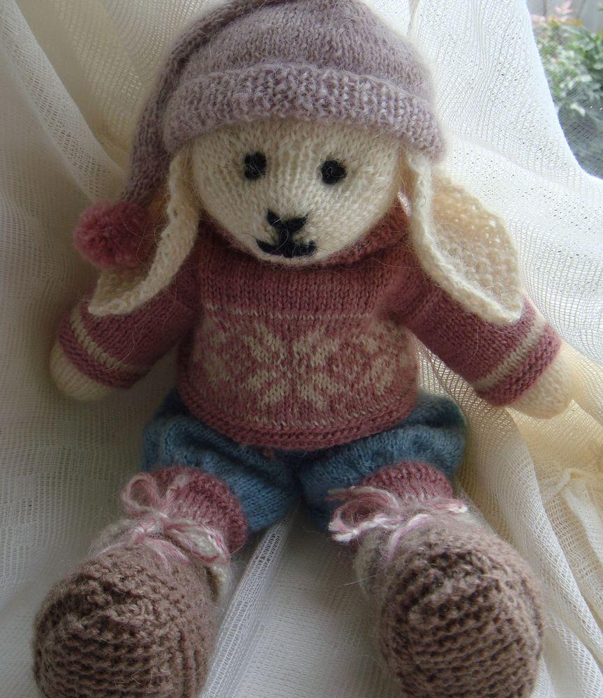 вязанная кукла, кукла заяц, интерьерная кукла, подарок
