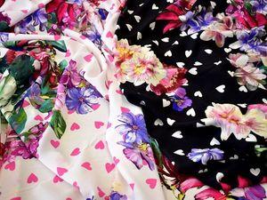 Шелк натуральный колекция 2018 в двух расцветках крупные цветы сердечки (5328). Ярмарка Мастеров - ручная работа, handmade.