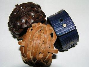 Браслет плетеный из жесткой кожи. | Ярмарка Мастеров - ручная работа, handmade