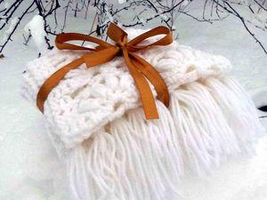 В магазине новинка. Ажурный шарфик, беленький и душевненький. Ярмарка Мастеров - ручная работа, handmade.