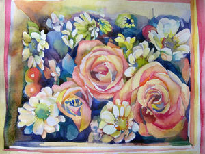 Этапы написания Роз и ромашек акварель. Ярмарка Мастеров - ручная работа, handmade.