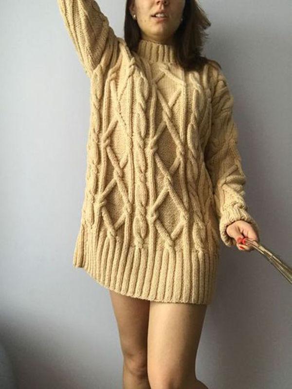 вязаное платье, бежевое