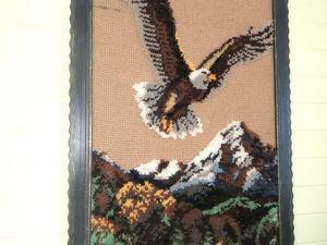 Создаем картину с 3D-эффектом поверх тунисского вязания. Ковровая техника. Ярмарка Мастеров - ручная работа, handmade.