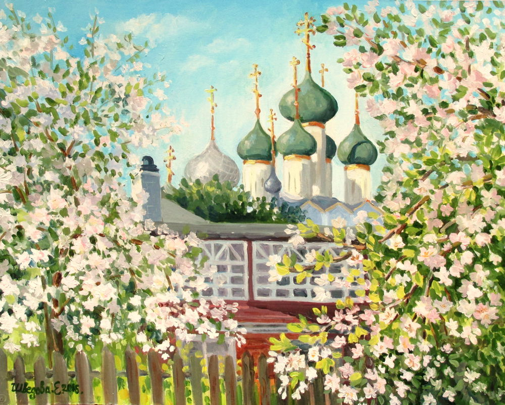 черная пятница, скидка 20%, картина со скидкой, авторская работа, авторская живопись, весна, купить в москве, православие, церковь, сад, картина маслом пейзаж
