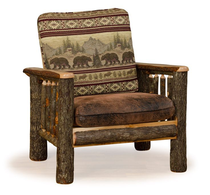 Rustic hickory log chair with faux brown leather seat and choice of upholstered back, in lodge style patterns.  Amish made in the USA.