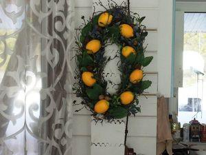 Сочная новинка. Интерьерный венок с лимонами.. Ярмарка Мастеров - ручная работа, handmade.