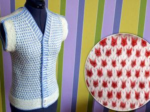 Вяжем простой двухцветный узор спицами. Вязание спицами для начинающих. Ярмарка Мастеров - ручная работа, handmade.