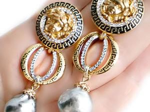 РАСПРОДАЖА! Спешите! Изумительные Серьги с жемчугом Lux!kasumi-like Versace. Ярмарка Мастеров - ручная работа, handmade.