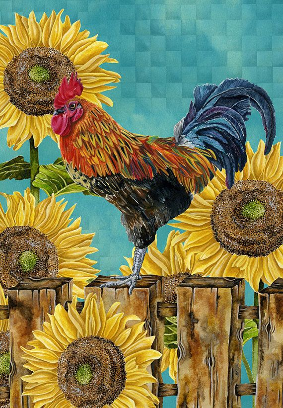 Art Print 8x10. Rooster With Sunflowers. Fall Edition