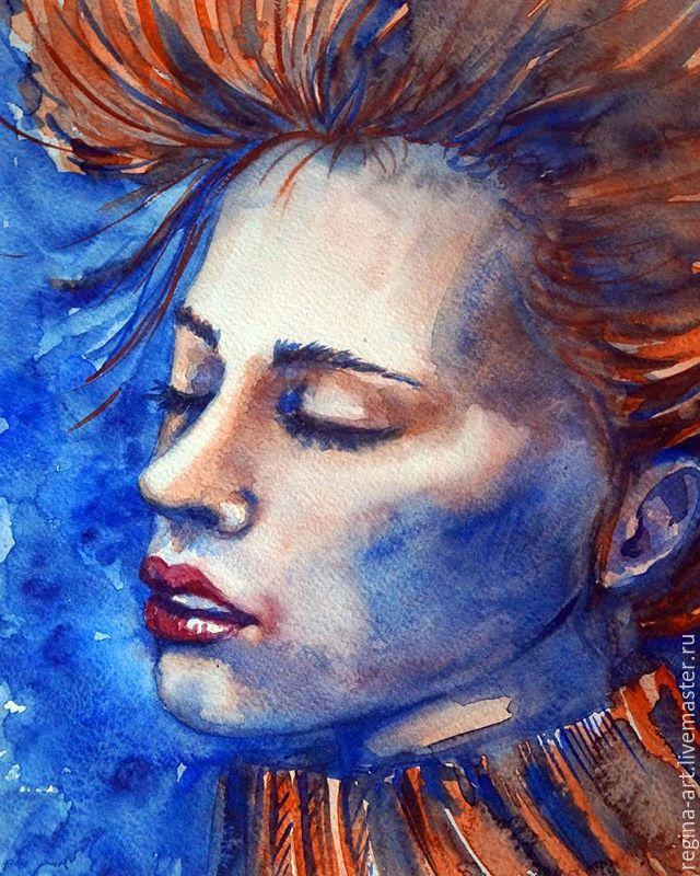 Рисуем акварелью портрет в холодных тонах «Лед и пламя», фото № 1