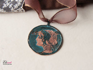 "How to Make a ""Greek profile"" Bronze Pendant. Fretwork, Soldering, Patination. Livemaster - handmade"