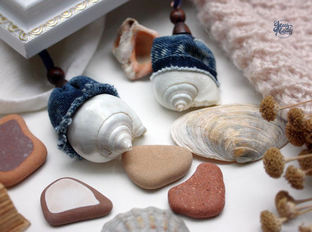 украшения с ракушками, джинса, ярмарка мастеров