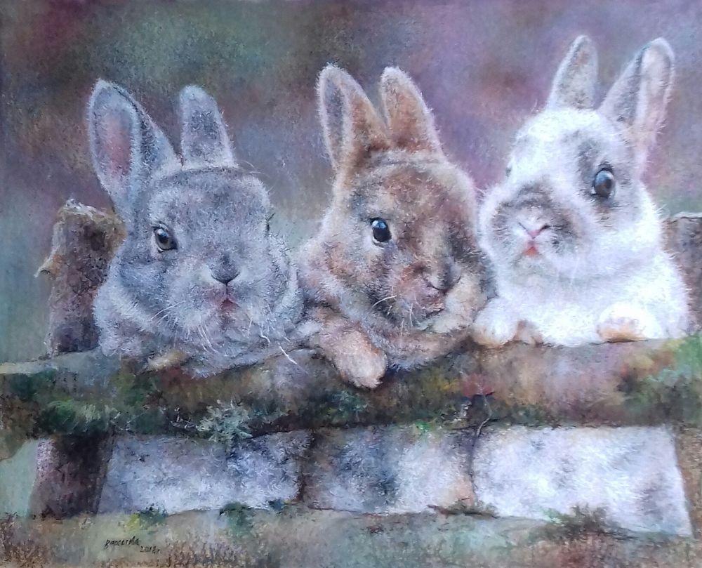 картина с кроликами, кролики, белый кролик, серый, персик, дружба, добрые картины, теплые картины