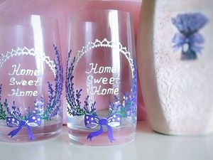 Роспись стаканчиков в стиле Прованс. Простая роспись бокалов для начинающих. Ярмарка Мастеров - ручная работа, handmade.