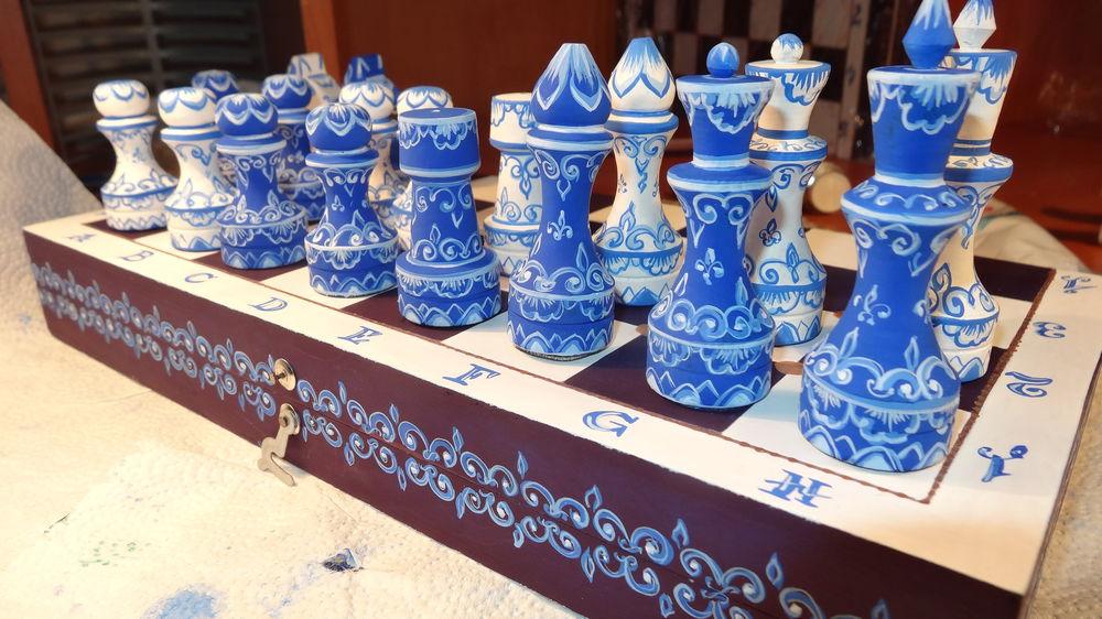 шахматы авторские, шахматы синие