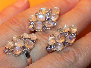 Кольцо серьги-адуляр-лунный камень натуральный-танзанит
