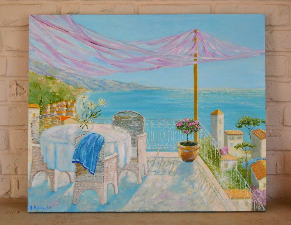 живопись, картину, морской пейзаж, средиземное море, терраса, отпуск, италия, хорватия