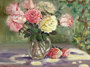 Аукцион сегодня! Картина маслом — Солнечные розы. Ярмарка Мастеров - ручная работа, handmade.