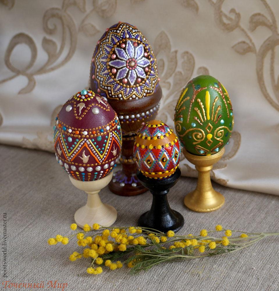 точечная роспись, пасхальный сувенир, расписные яйца