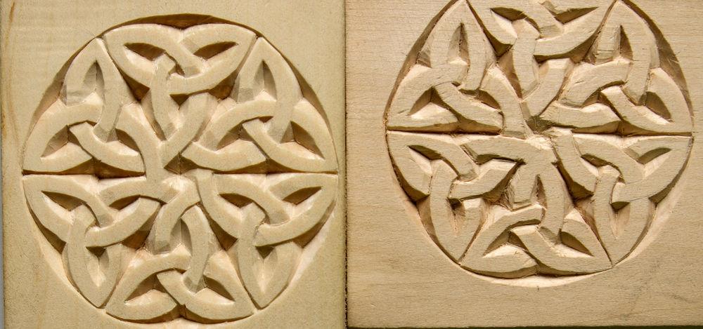 резьба по дереву, учеба, кельтский, узор, результат, сравнение