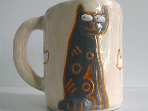 Аукцион на кружку с серым котом! Старт 600 руб!. Ярмарка Мастеров - ручная работа, handmade.