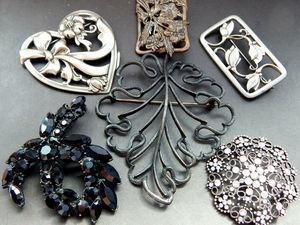 Винтажные броши стальные и черные. Ярмарка Мастеров - ручная работа, handmade.