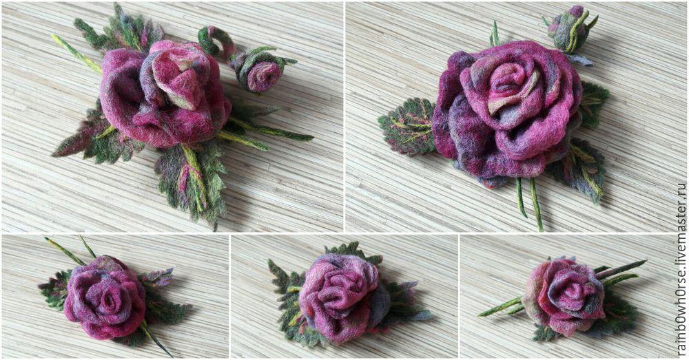 розы из шерсти, своими руками, весна