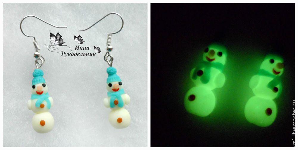 серёжки, снеговик, своими руками, новогодние украшения