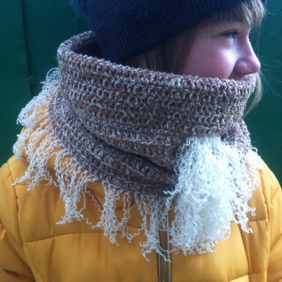 вязание крючком, модный снуд, шарф снуд, тёплый шарф, богемный стиль