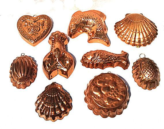 Vintage Copper Molds  /  Mid Century Jello Moulds French Country Kitchen  /   Set of 9  /  Large Collection