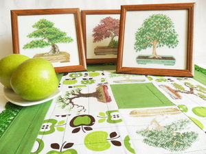 Щедрый аукцион. Три картины с деревьями. Ручная вышивка крестом. Ярмарка Мастеров - ручная работа, handmade.