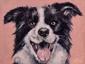 День 86. Картина маслом  «Радостный пёс». Ярмарка Мастеров - ручная работа, handmade.
