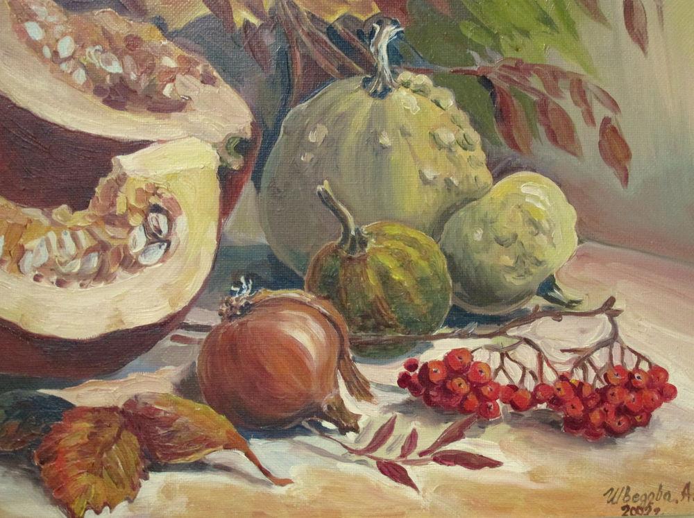 натюрморт маслом, рябина, для всех, картина для интерьера, осенние листья