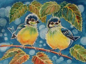 Рисуем с детьми картинку акварелью «Синички-яблочки». Ярмарка Мастеров - ручная работа, handmade.