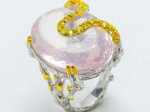 Видео Кольца с натурального Розового кварца 40 карат, серебро 925 пробы. Ярмарка Мастеров - ручная работа, handmade.