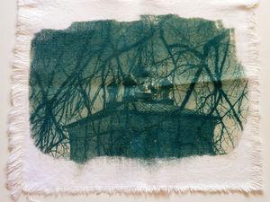 Цианотипия на ткани, зеленый цвет. Ярмарка Мастеров - ручная работа, handmade.