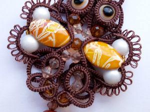 Плетем кулон-подвеску «Совушка» фриволите анкарс. Ярмарка Мастеров - ручная работа, handmade.